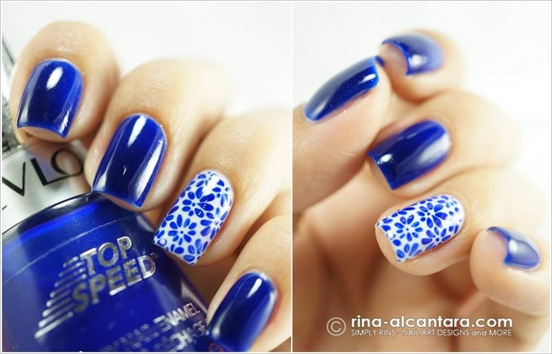 Blue and White Nail Art Design