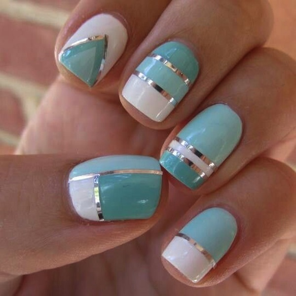 Blue White and Silver Nail Designs