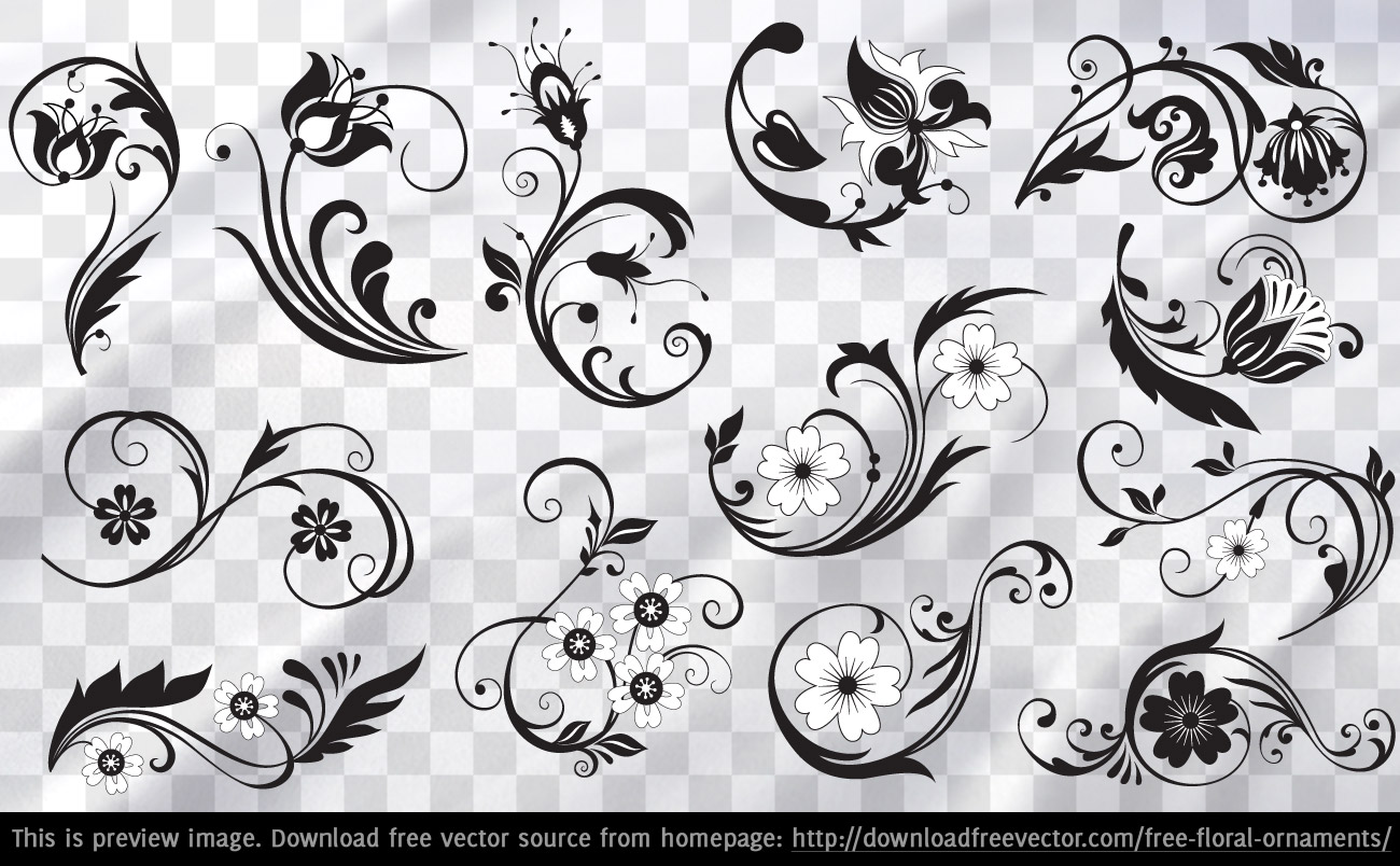 Free Flower Vector Ornaments