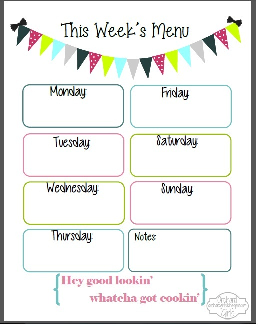 Free Printable Weekly Dinner Menu