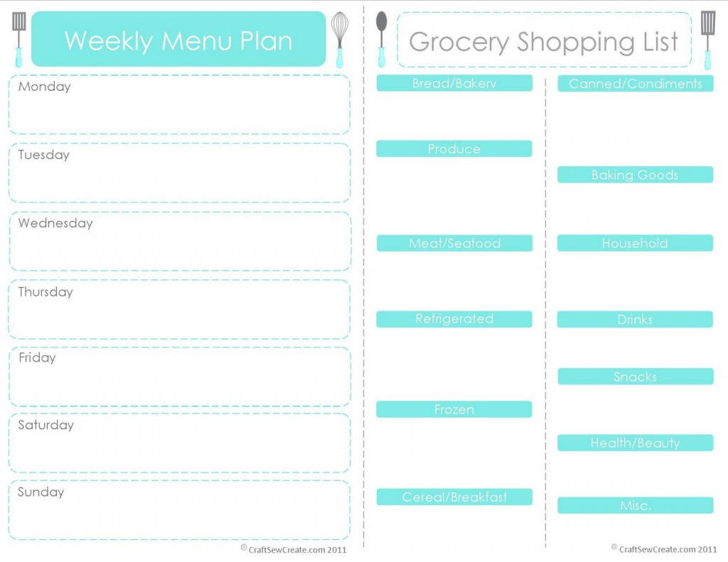 Free Printable Weekly Meal Planner Template