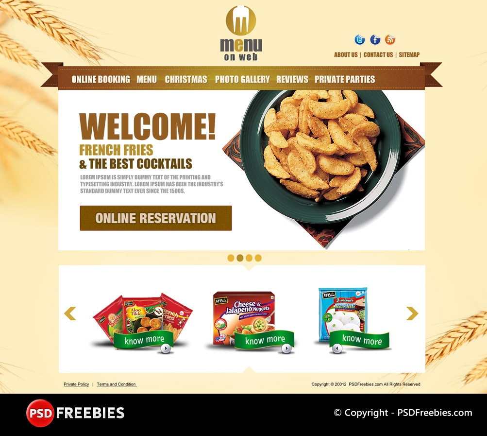Free Psd Restaurant Menu Template