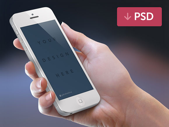 Hand Free iPhone Mockup PSD
