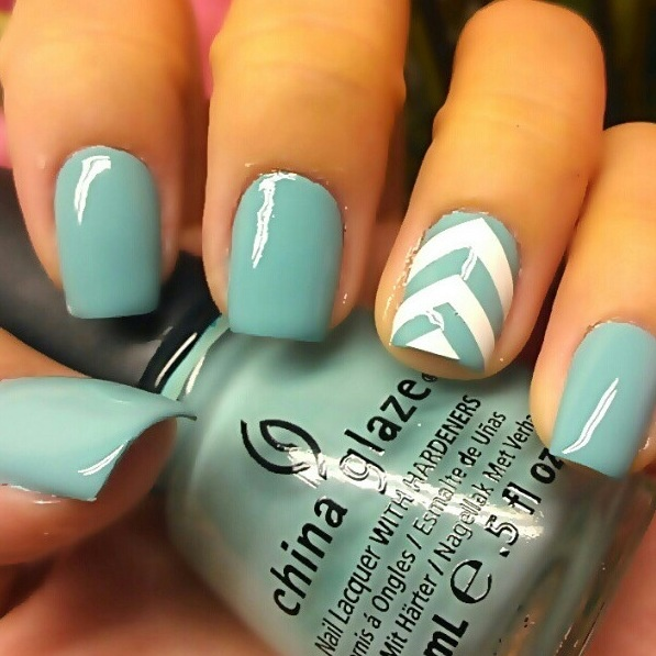 Light Blue and White Nail Design