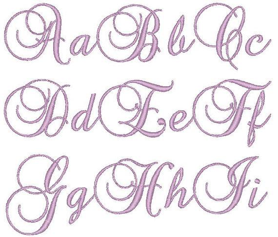Machine Embroidery Monogram Script Font