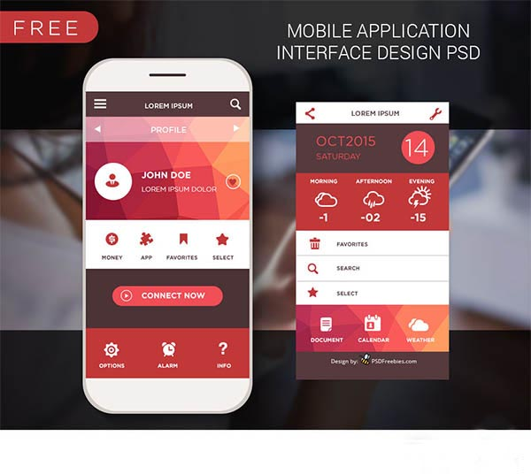 10 Mobile-App UI PSD Free Download Images