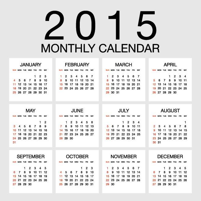 April Calendar Numbers : Monthly calendar vector images