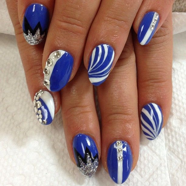 Royal Blue and White Nail Designs