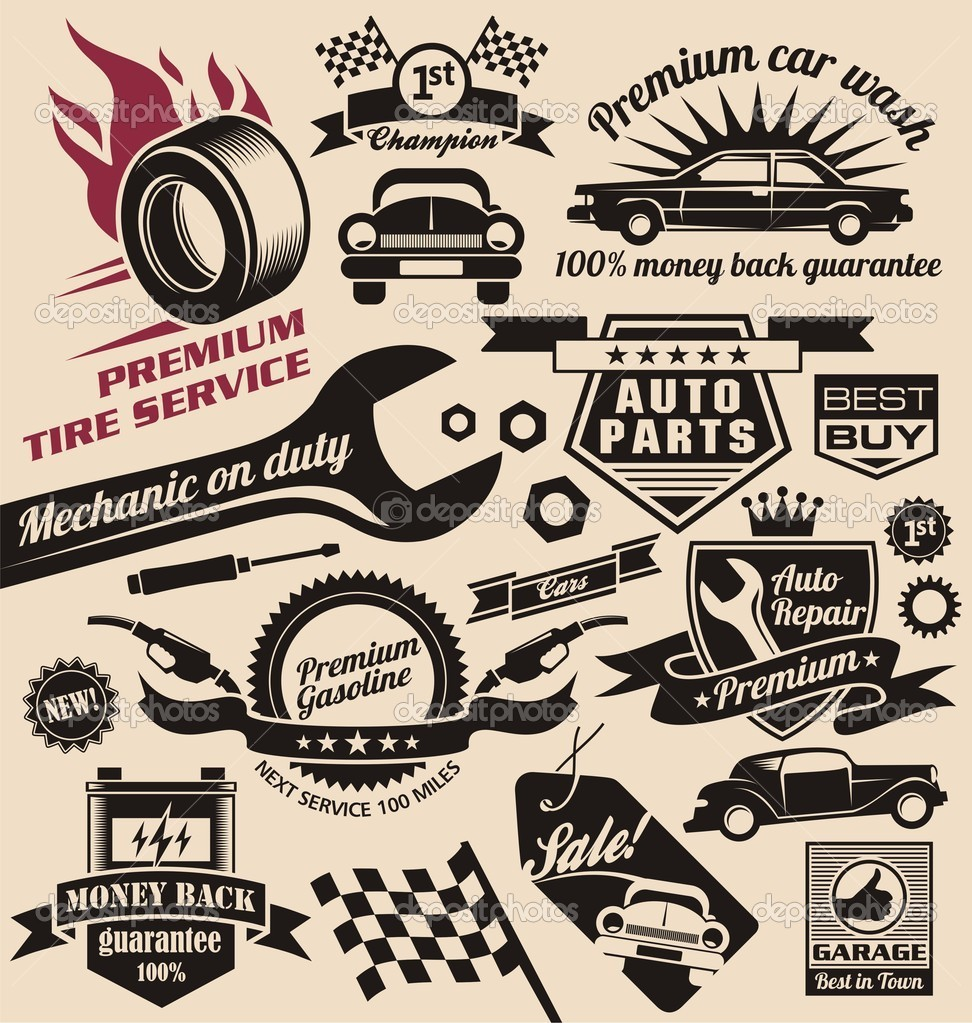 7 Vector Vintage Car Sign Images - Vintage Car Repair Sign Template ...