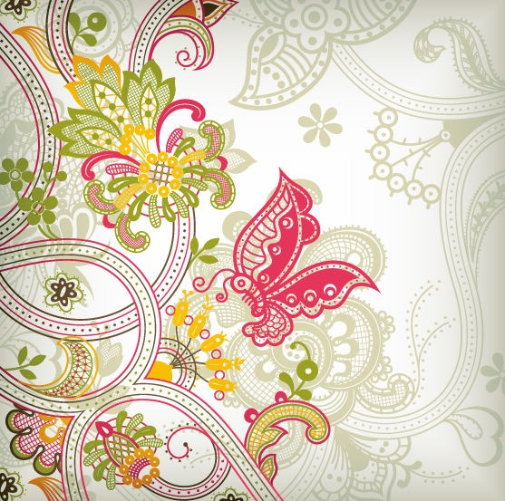 Vintage Flower Vector Pattern