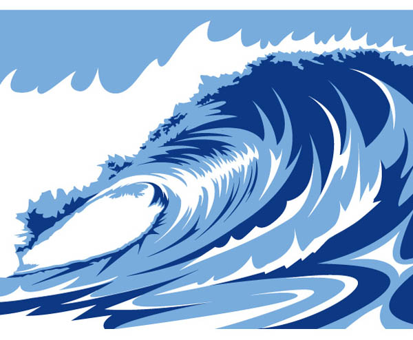 16 Wave Vector Graphics Images - Vector Ocean Wave Clip ...