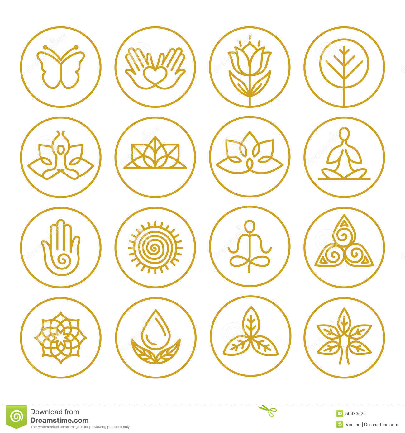 14 Yoga Icons Vector Images