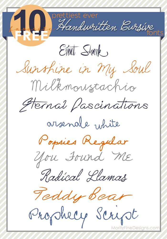 7 Best Cursive Handwriting Fonts Images