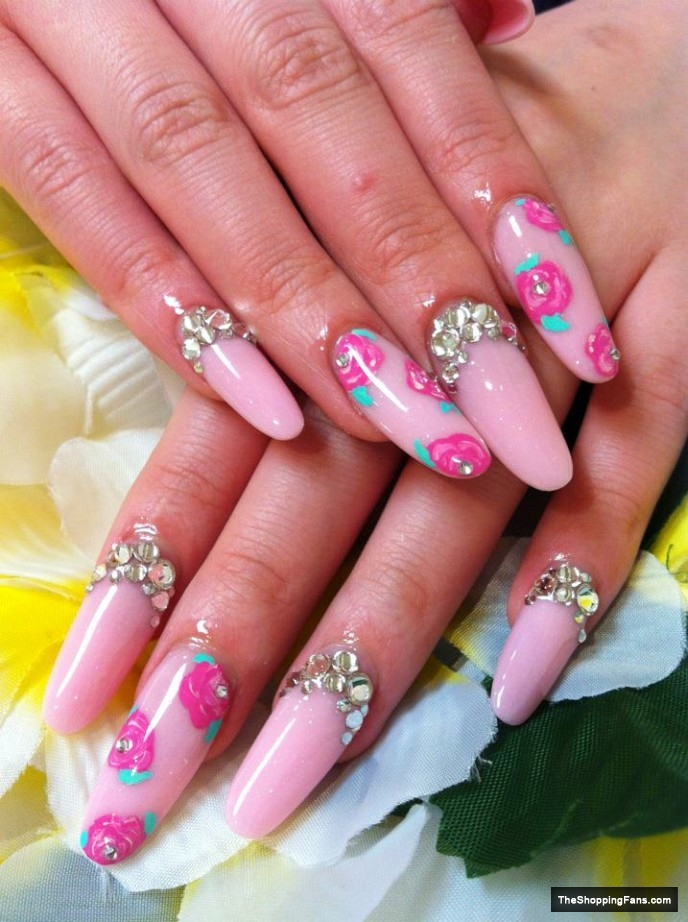 Acrylic Nail Design with Flowers