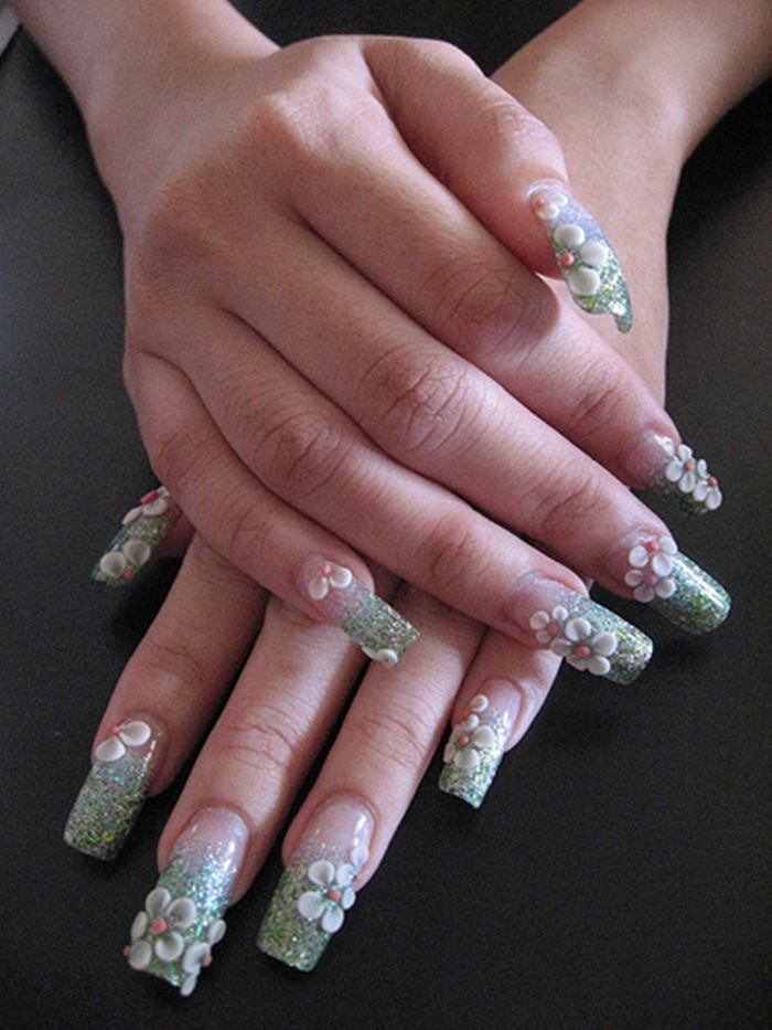 Acrylic Nails with 3D Flowers