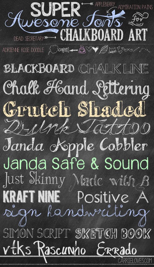12 Cursive Chalkboard Writing Font Images