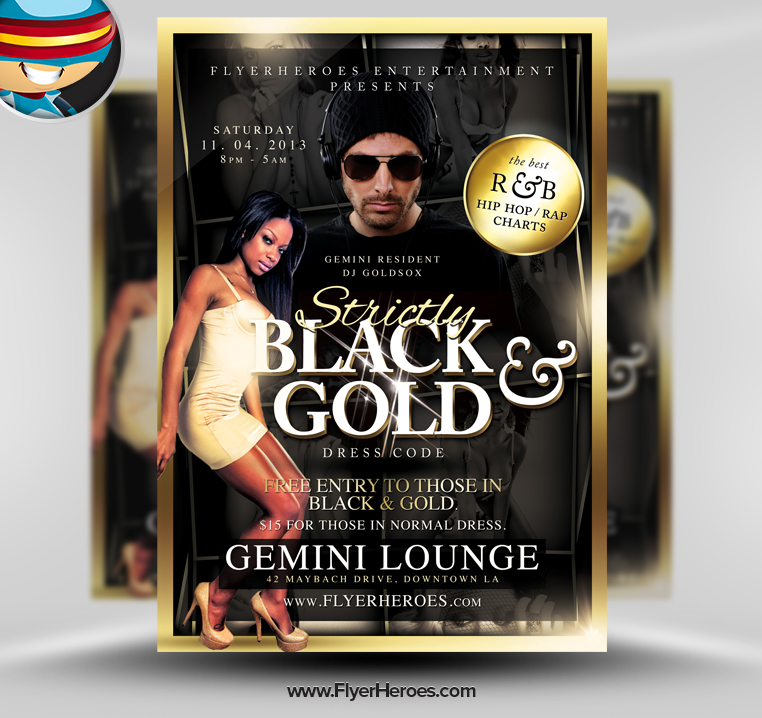 20 Gold PSD Flyer Images Gold Flyer Templates Black and Gold