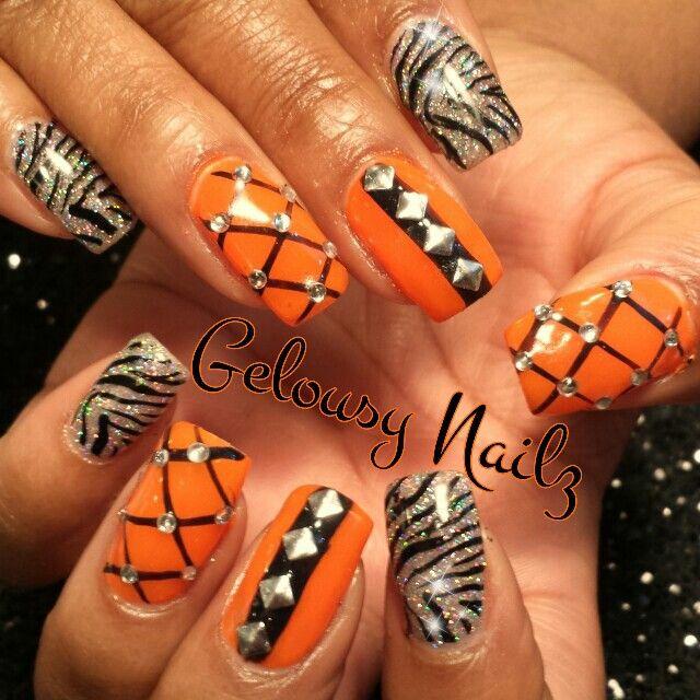 Black and Orange Glitter Nails Designs