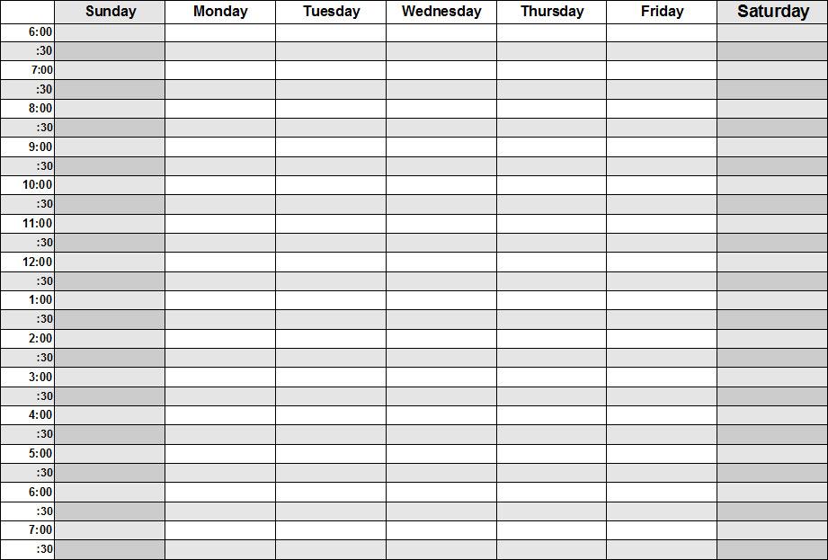 Blank Weekly Schedule Calendar