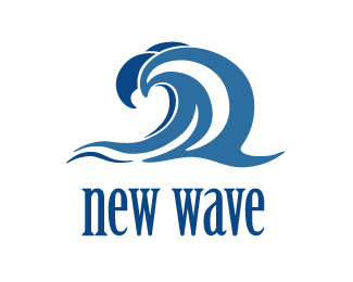 Blue Circle Stars Waves Logo