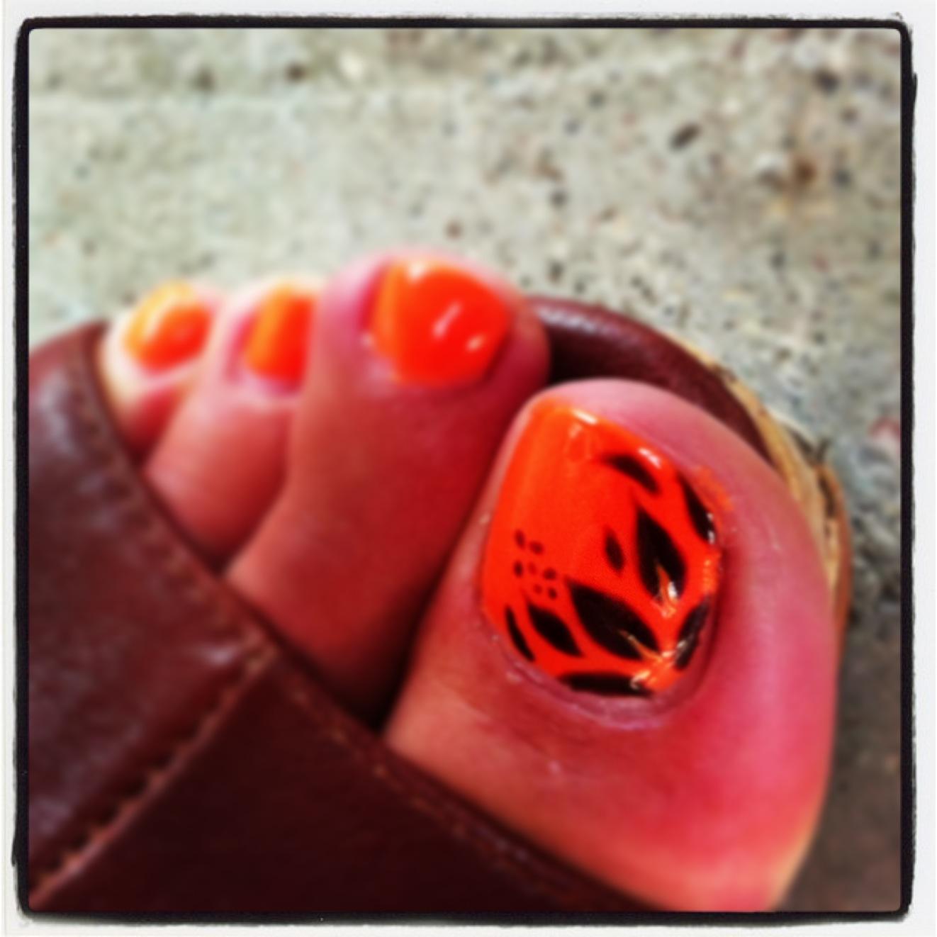 Bright Orange Toe Nail Art
