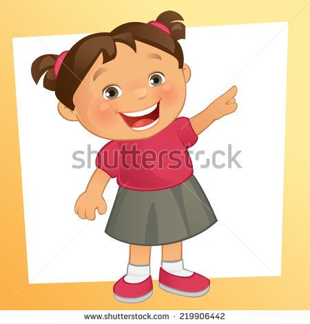 Cartoon Little Girl Curly Hair