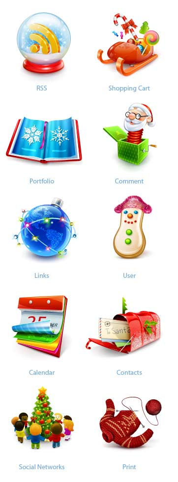 5 Christmas Icons For Web Images
