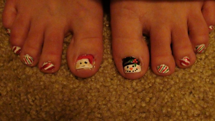 11 Christmas Toe Nail Designs Images Flower Toe Nail Art Designs