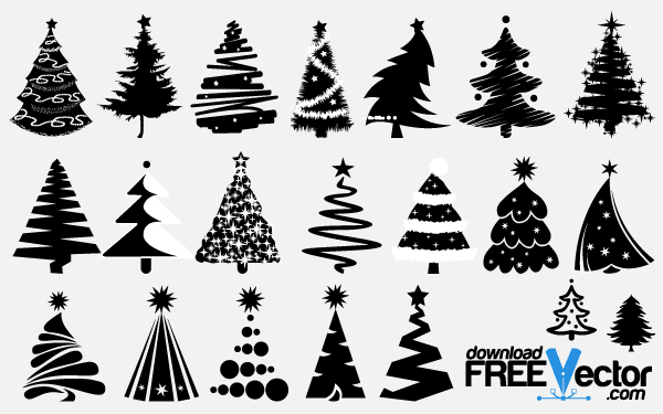 15 Free Vector Silhouettes Christmas Tree Images