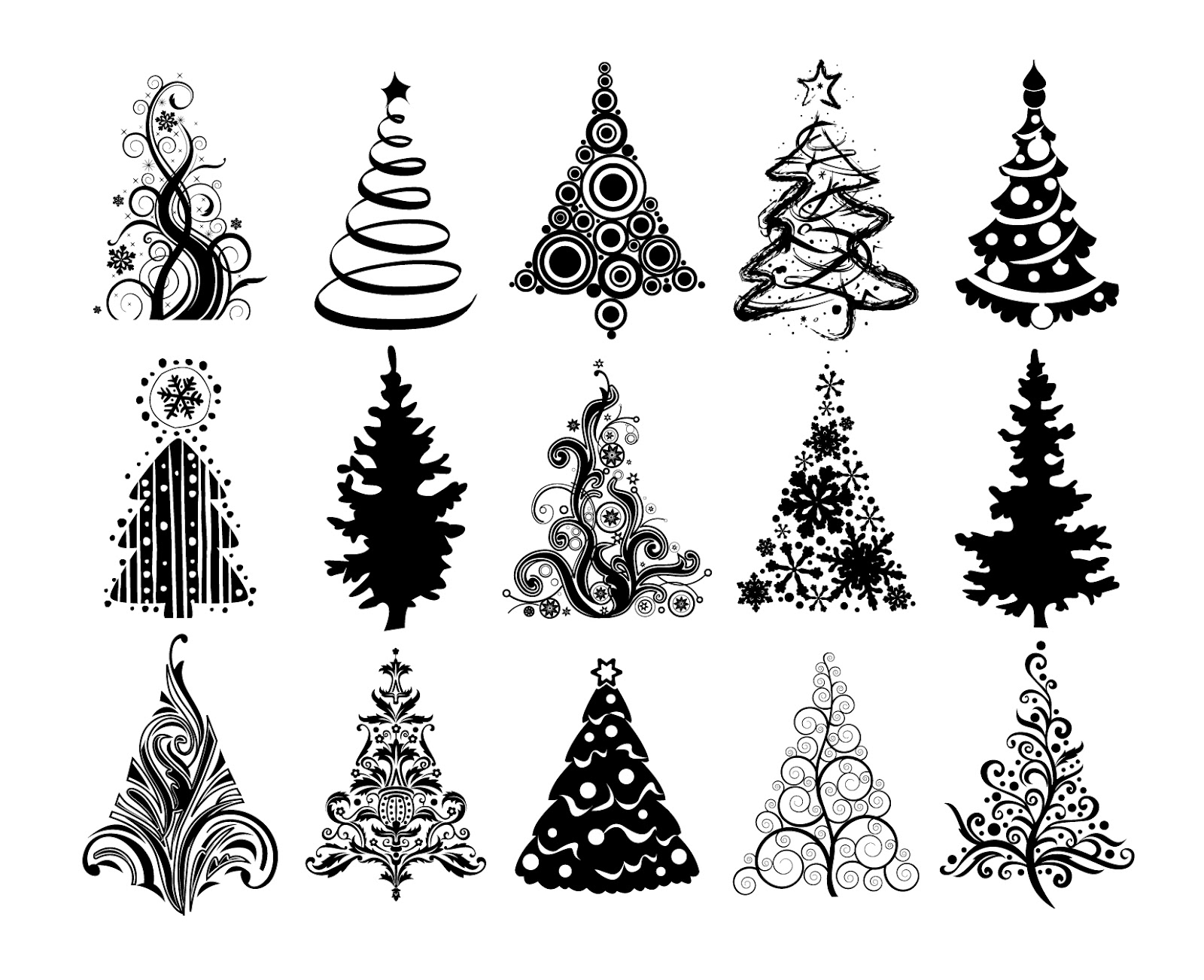 Free vector silhouettes christmas tree images