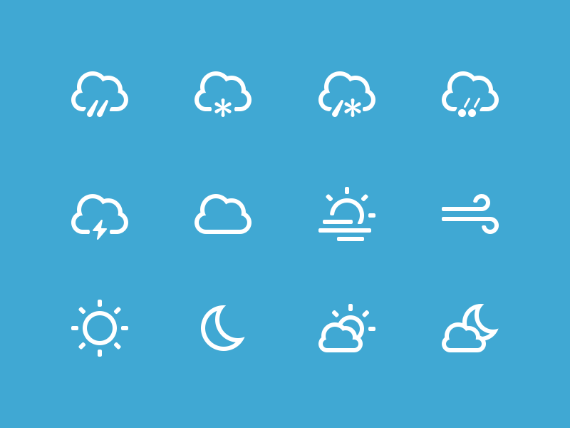 Clean Weather Icons PNG
