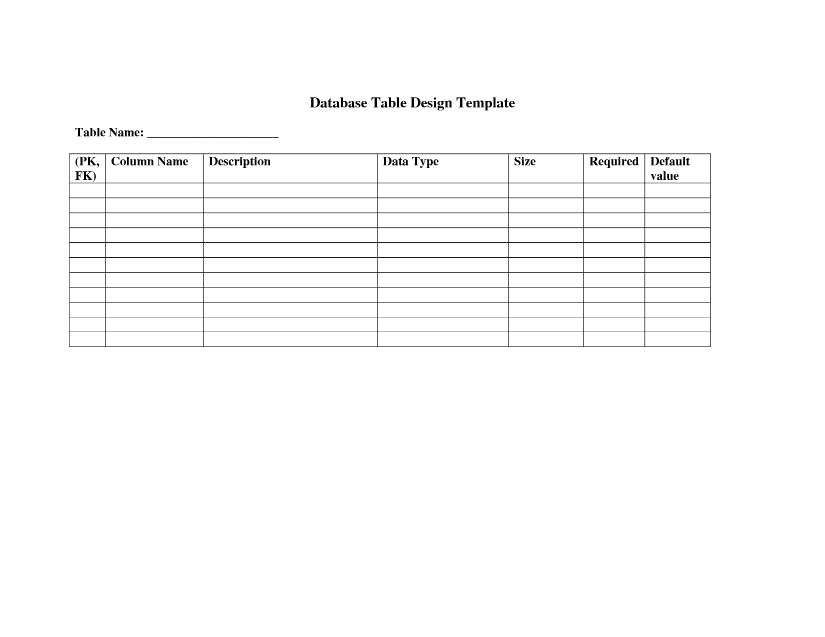 7 database design document template images construction for Table design templates in html