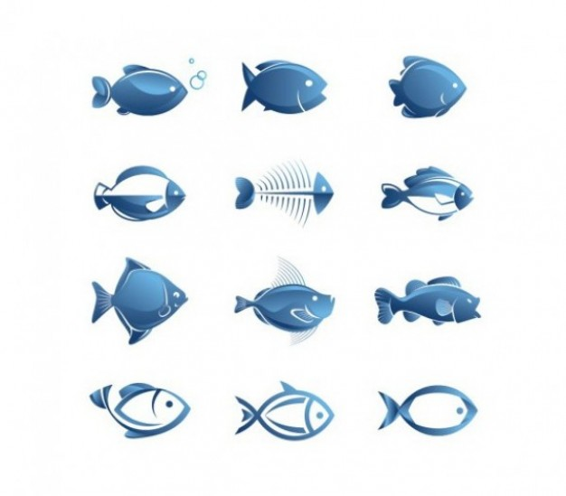 13 Simple Fish Vector Images
