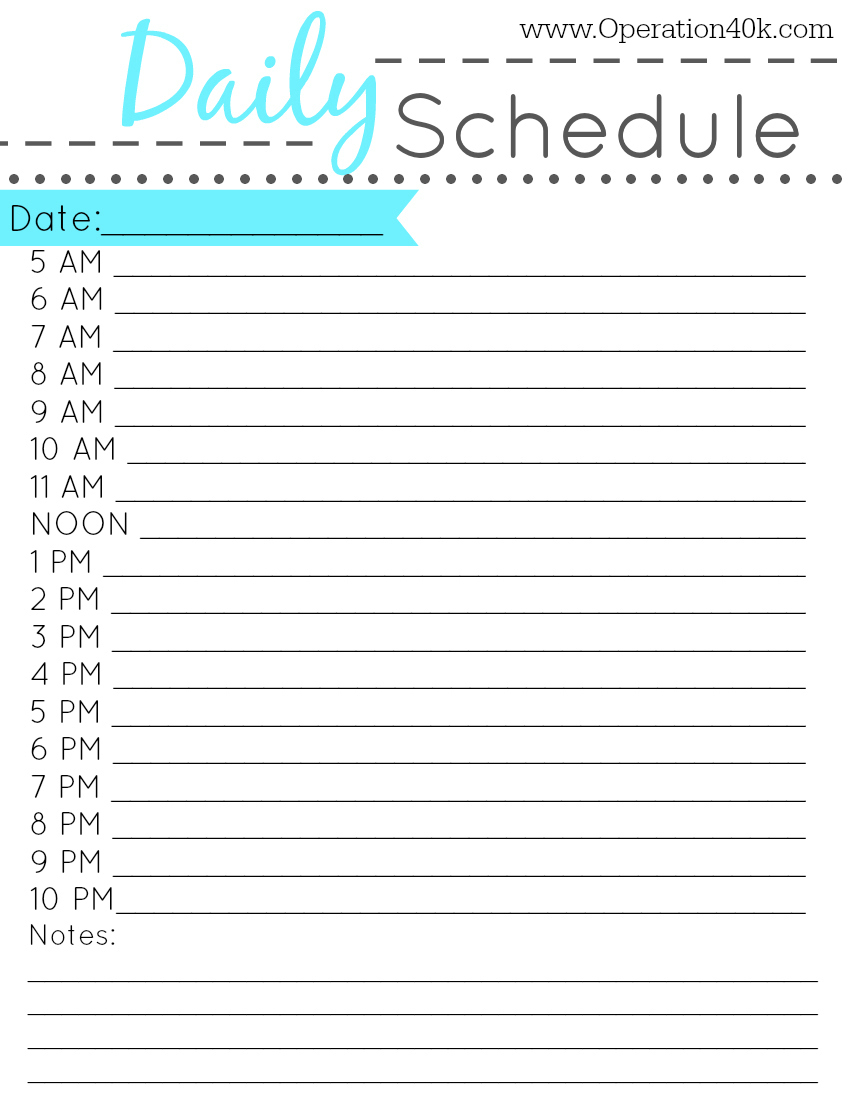 Free Printable Blank Daily Schedule