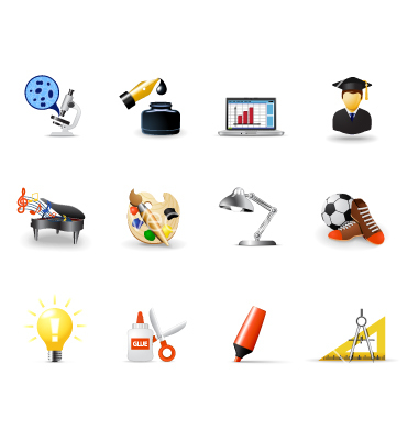10 Free Vector School Icons Single Images
