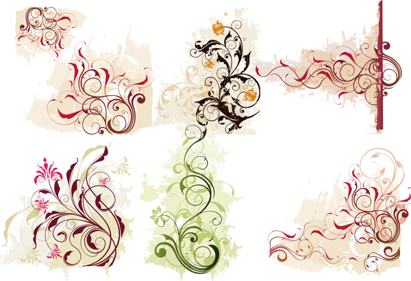18 Wedding Floral Swirl Vector Images