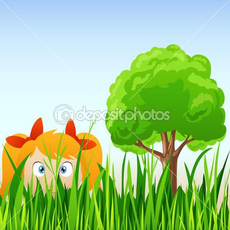 Girl Hiding Behind Tree Cartoon