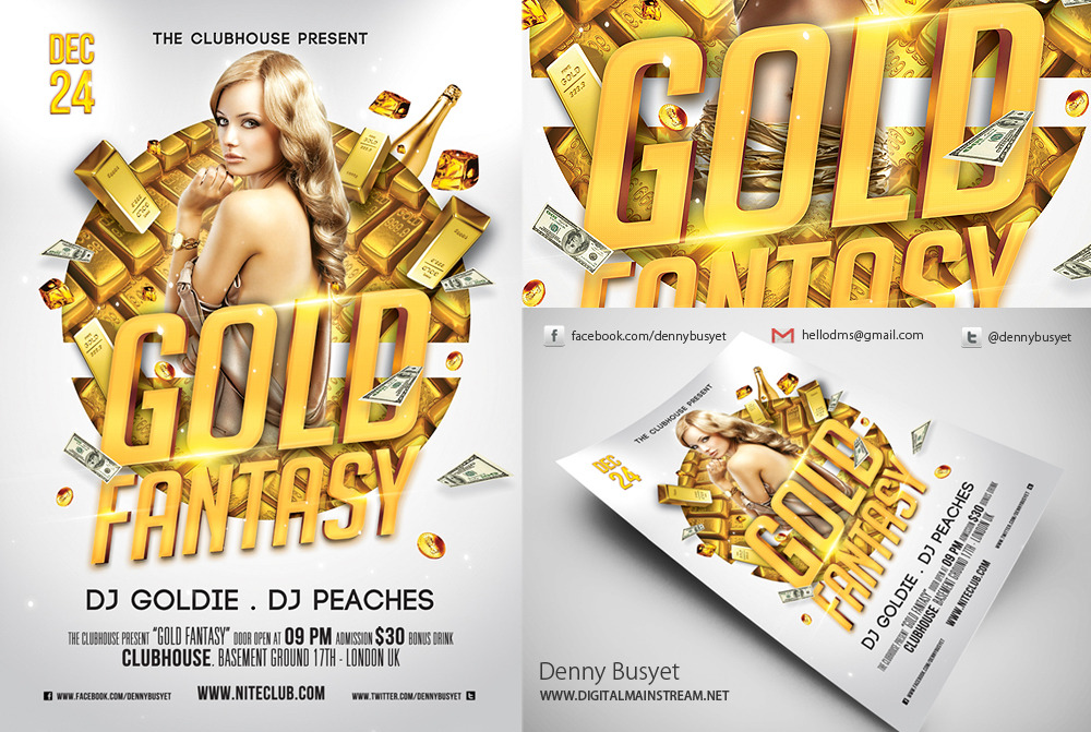 20 Gold PSD Flyer Images