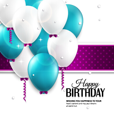 Happy Birthday Card with Balloons and Confetti