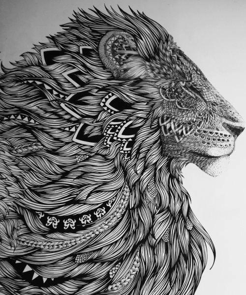 Lion Zentangle Drawing