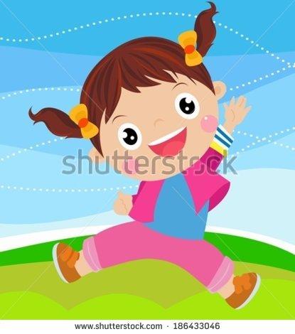 Little Cartoon Girl Jumping