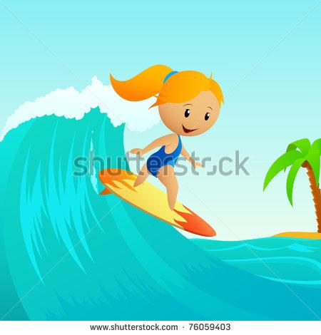 Little Cartoon Girl Surfing