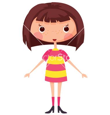 Little Cartoon Girl with Brown Hair