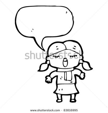 Little Girl Singing Cartoon