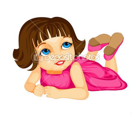 Little Girl Thinking Cartoon