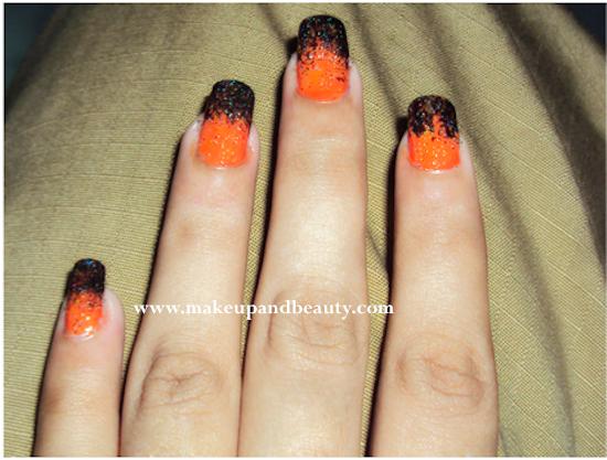 Orange and Black Nail Art