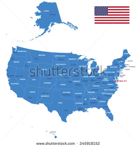 USA Map with States Flags