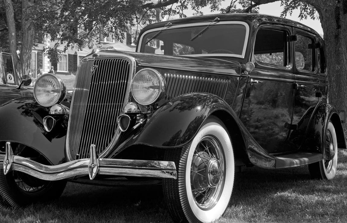 Vintage Black and White Old Cars