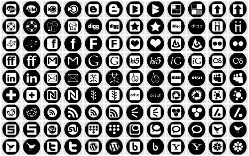 Black and White Social Media Icons Free