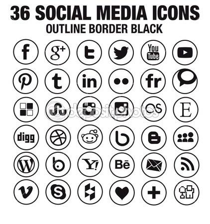 Black Social Media Icons Circle Vector